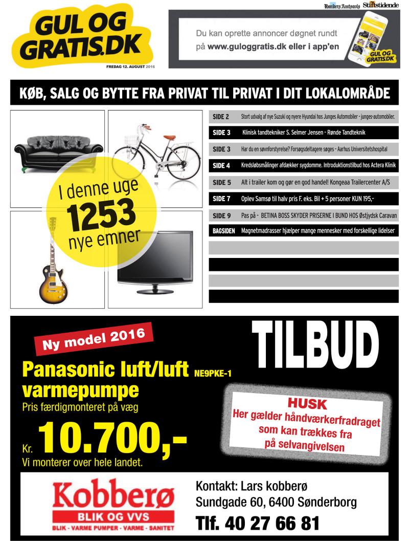 Gul og Gratis Århus Stifstidende 12 08 2016