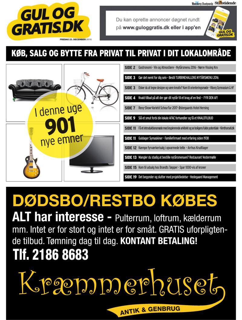 Gul og Gratis Århus Stifstidende 23 12 2016